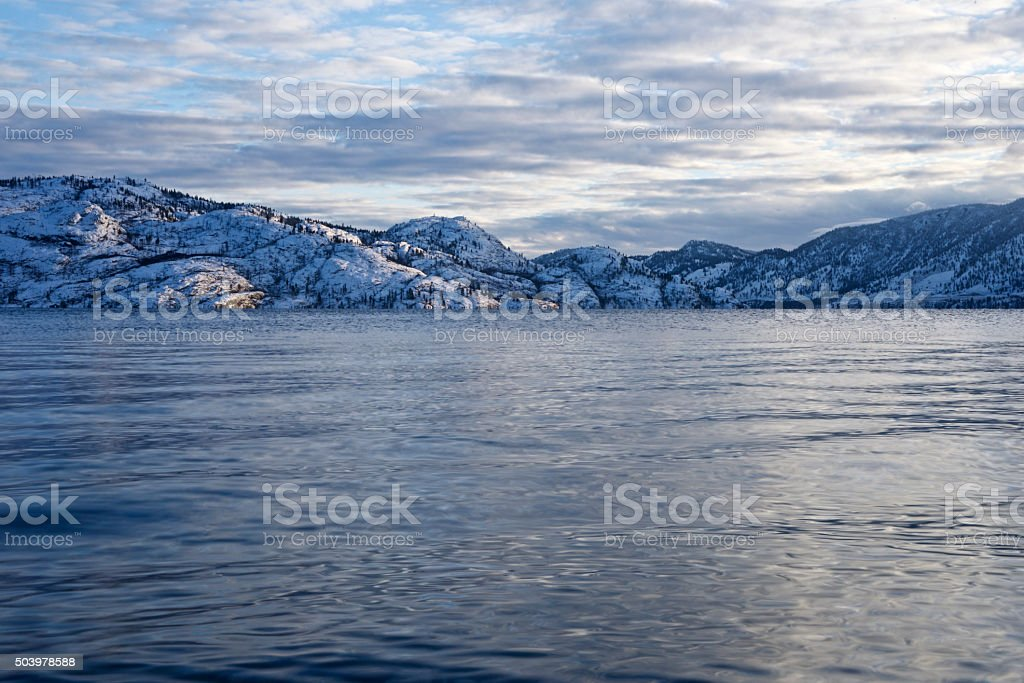 Lake Okanagan in the winter stock photo
