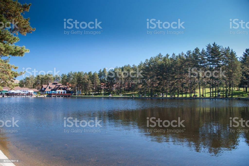 Lake on mountain Zlatibor, Serbia stock photo