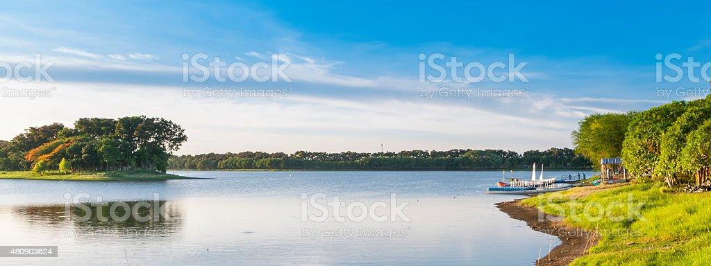 Lake on sunny day stock photo