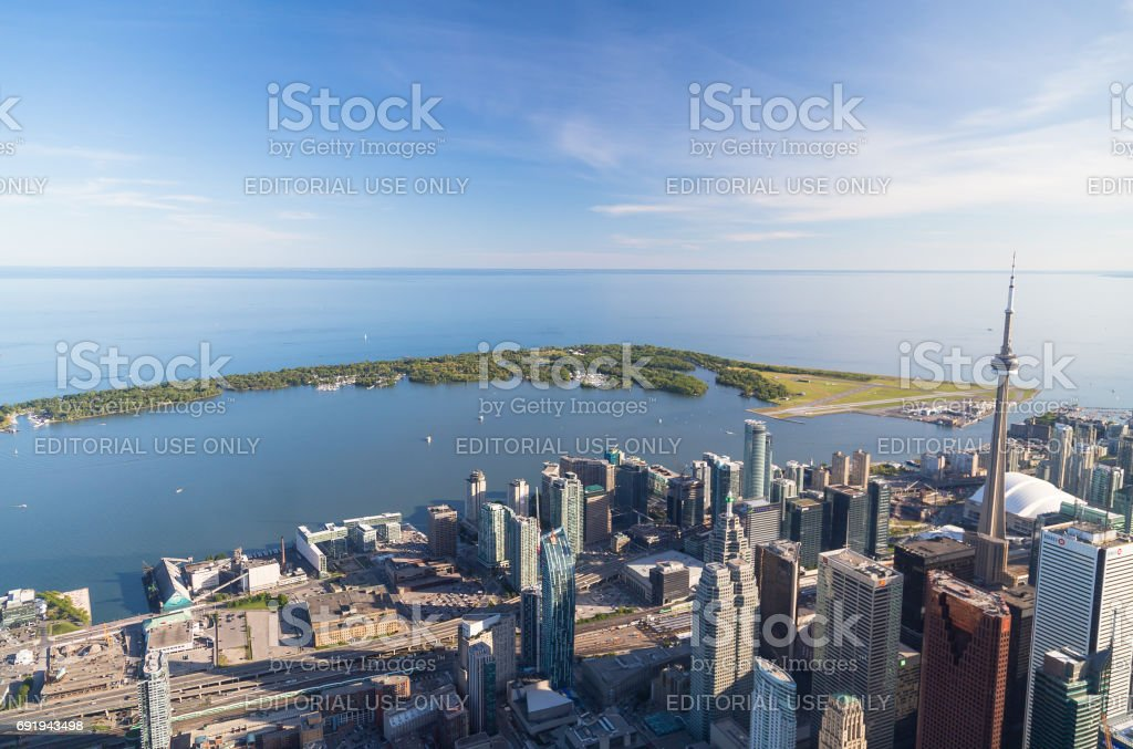 Lake Ontario from the Air showing some buildings in downtown Toronto stock photo