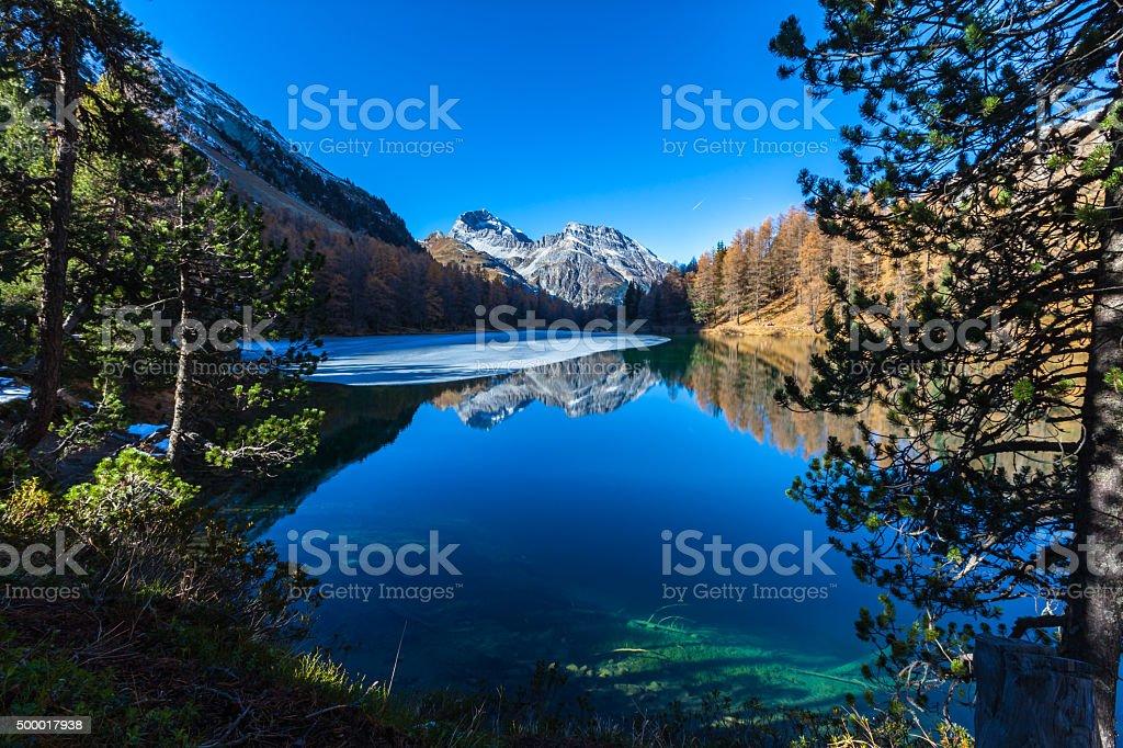 Lake Palpuogna and Piz Ela stock photo