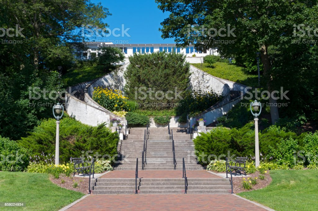 Lake Park Grand Staircase in Milwaukee stock photo