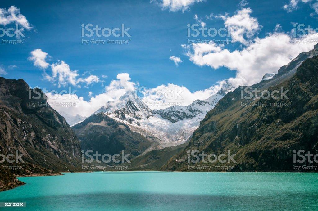 Lake Paron And Pyramid Peak In The Peruvian Andes stock photo