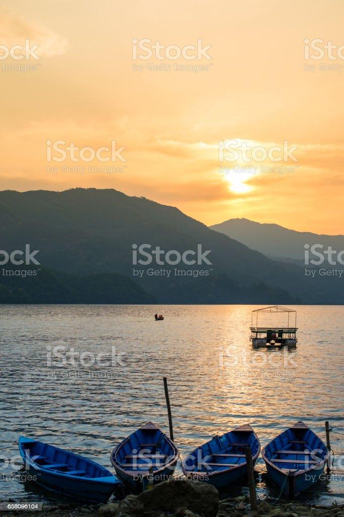 Lake Phewa boats royalty-free stock photo