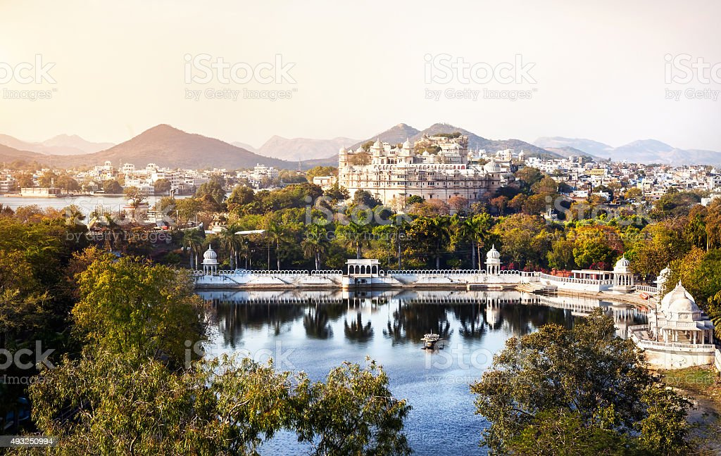 Lake Pichola and City Palace in India stock photo