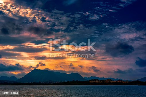 1039163636istockphoto Lake Pichola and Monsoon Clouds. 988100044