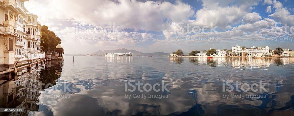 Lake Pichola Panorama in India stock photo
