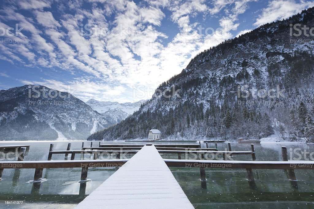 lake plansee in winter- tirol -austria stock photo