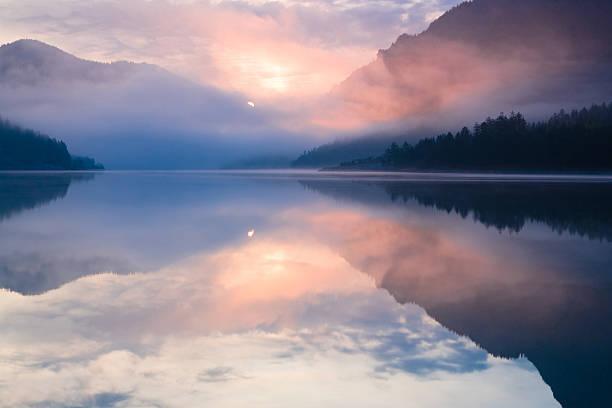 lake plansee - nature foggy calm bildbanksfoton och bilder