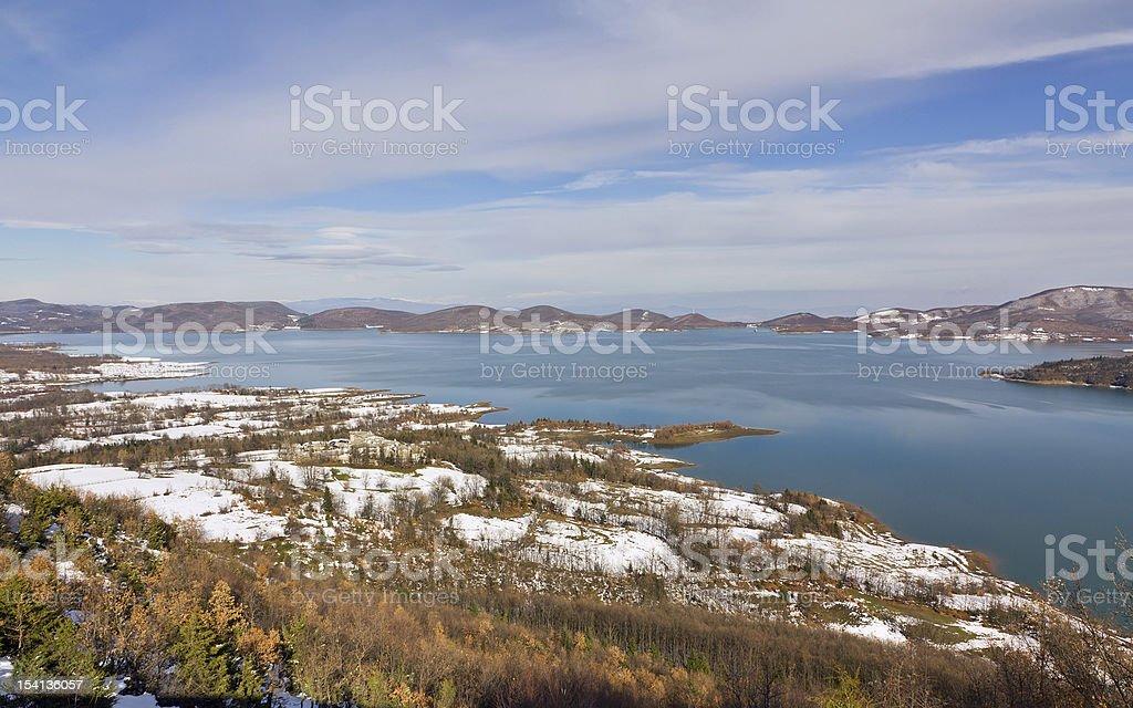 Lake Plastiras winter view, Thessaly, Greece royalty-free stock photo