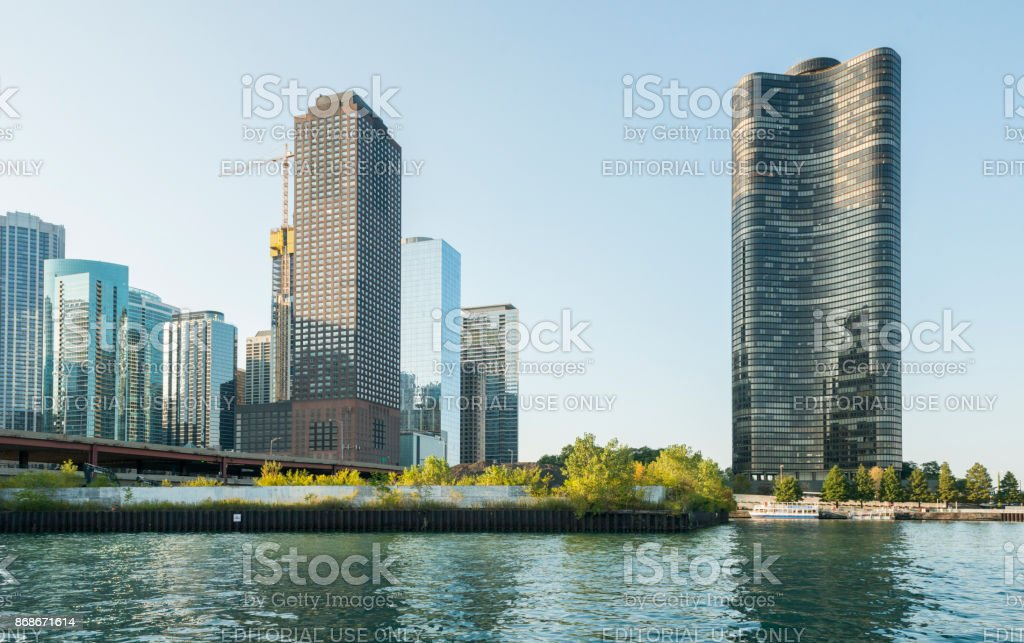 Lake Point Tower Architecture by Chicago River Midwest USA stock photo
