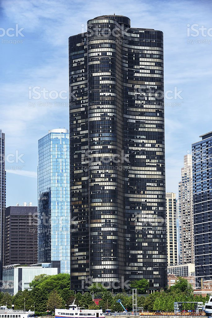 Lake Point Tower, downtown Chicago stock photo