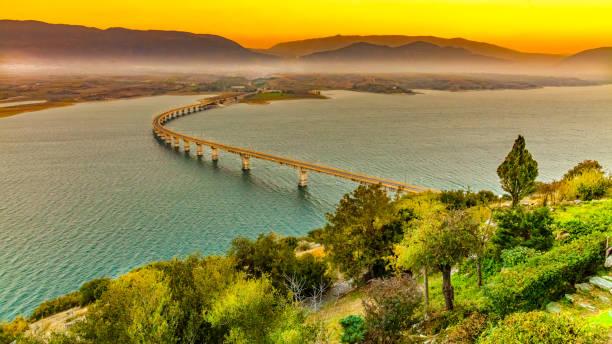 Lake Polyfytos Bridge stock photo
