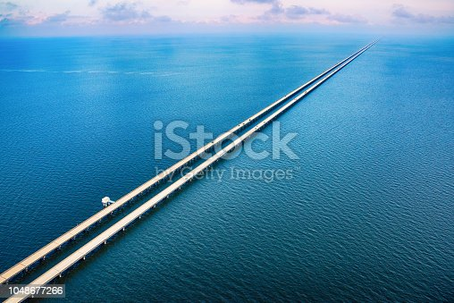 The Lake Pontchartrain Causeway, the worlds longest bridge at just under 24 miles long, near New Orleans, Louisiana and shot from an altitude of about 1000 feet during a helicopter photo flight.