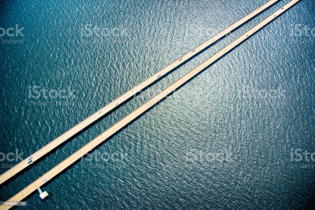 Lake Pontchartrain Causeway Aerial stock photo