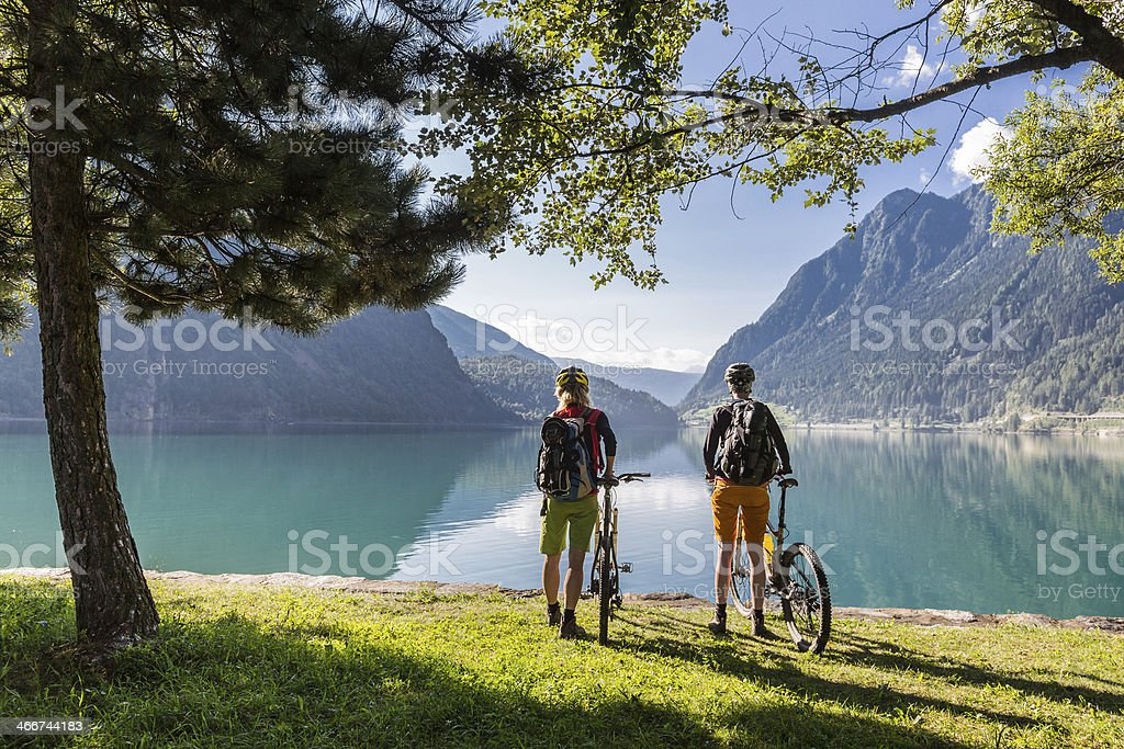 Lake Poschiavo view, Switzerland stock photo