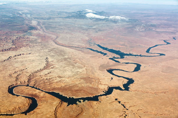 Lake Powell Aerial View Aerial view of Lake Powell in Utah colorado river stock pictures, royalty-free photos & images