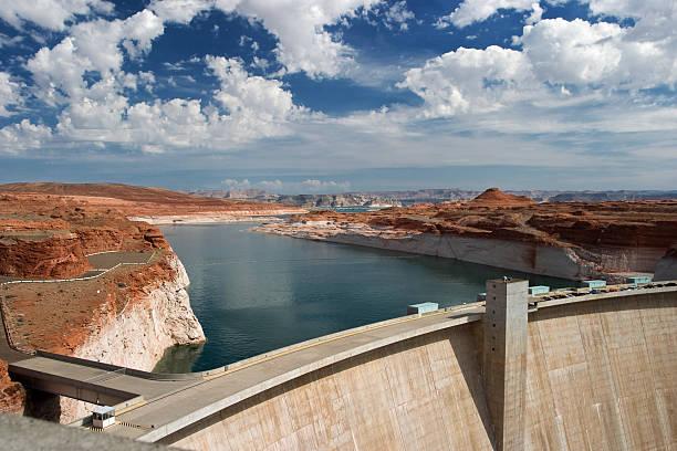 Lake Powell and Glen Canyon Dam stock photo
