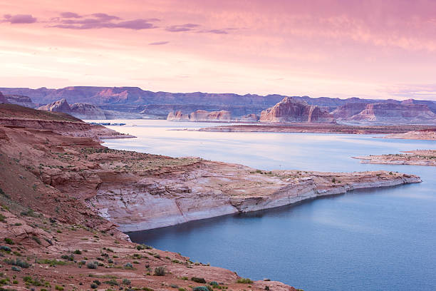 Lake Powell at dusk Lake Powell in Page - Arizona page arizona stock pictures, royalty-free photos & images