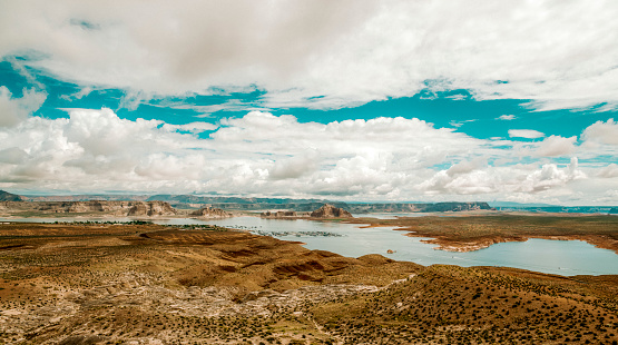Lake Powell in Utah Arizona seen from above a cloudy day in the summer.