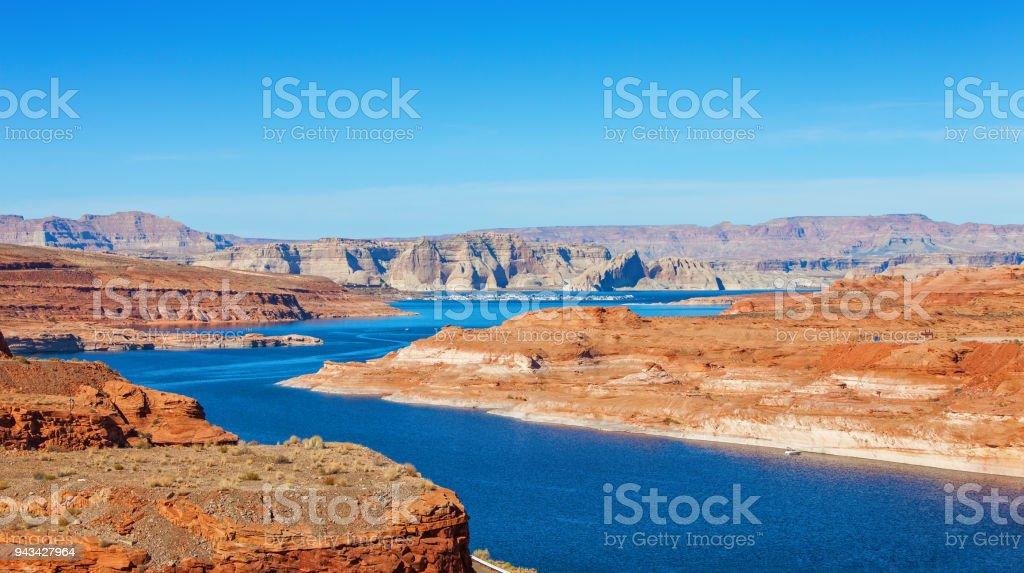 Lake Powell on the border between Utah and Arizona, United States. Lake Powell on the border between Utah and Arizona, United States. Arizona Stock Photo