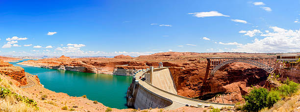 Lake Powell Panorama Panoramic view of Lake Powell and Glen Canyon Dam  lake powell stock pictures, royalty-free photos & images