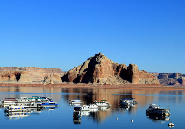 Lake Powell with houseboats stock photo