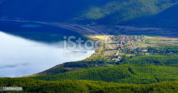 Lake Prespa in Macedonia ,village of Stenje pictured from National park Galicica.