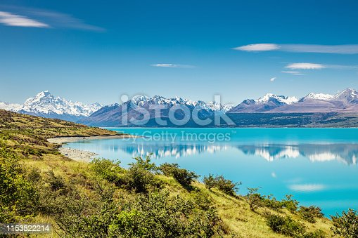 Beautiful turquoise Lake Pukaki and snow capped Mount Cook Glacier Mountain Range in summer reflecting in the turquoise calm lake water. South Island, Canterbury, Mackenzie Basin, Mount Cook, Lake Pukaki, New Zealand