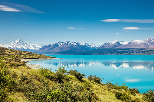 Beautiful turquoise Lake Pukaki and snow capped Mount Cook Glacier Mountain Range in summer reflecting in the turquoise calm lake water. South Island, Canterbury, Mackenzie Basin, Mount Cook, Lake Pukaki, New Zealand