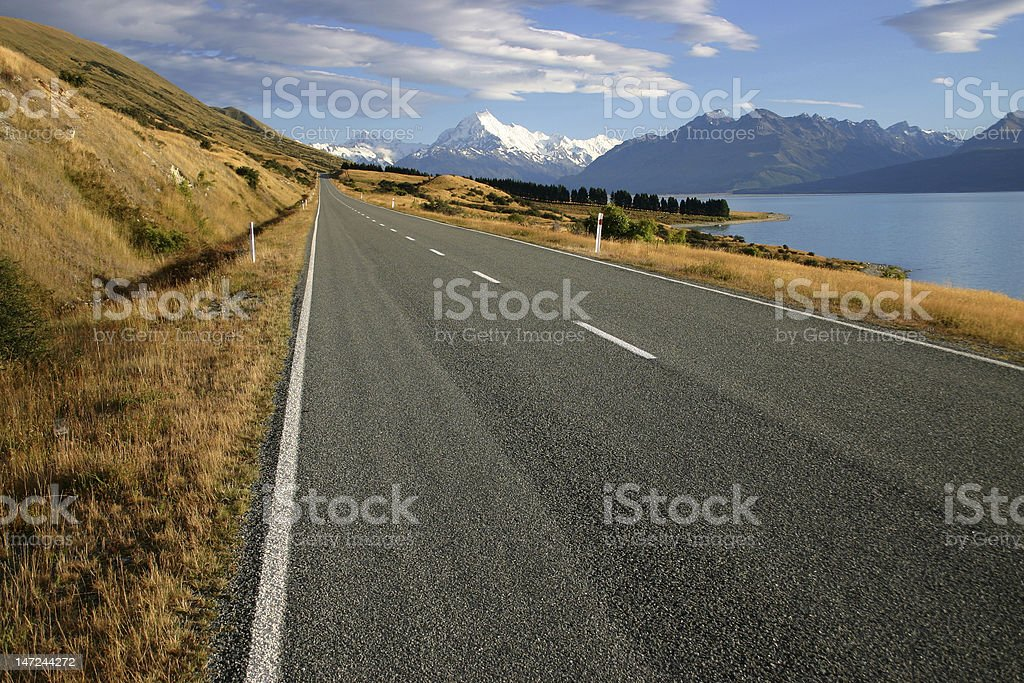 Lake Pukaki with Mt. Cook in background royalty-free stock photo
