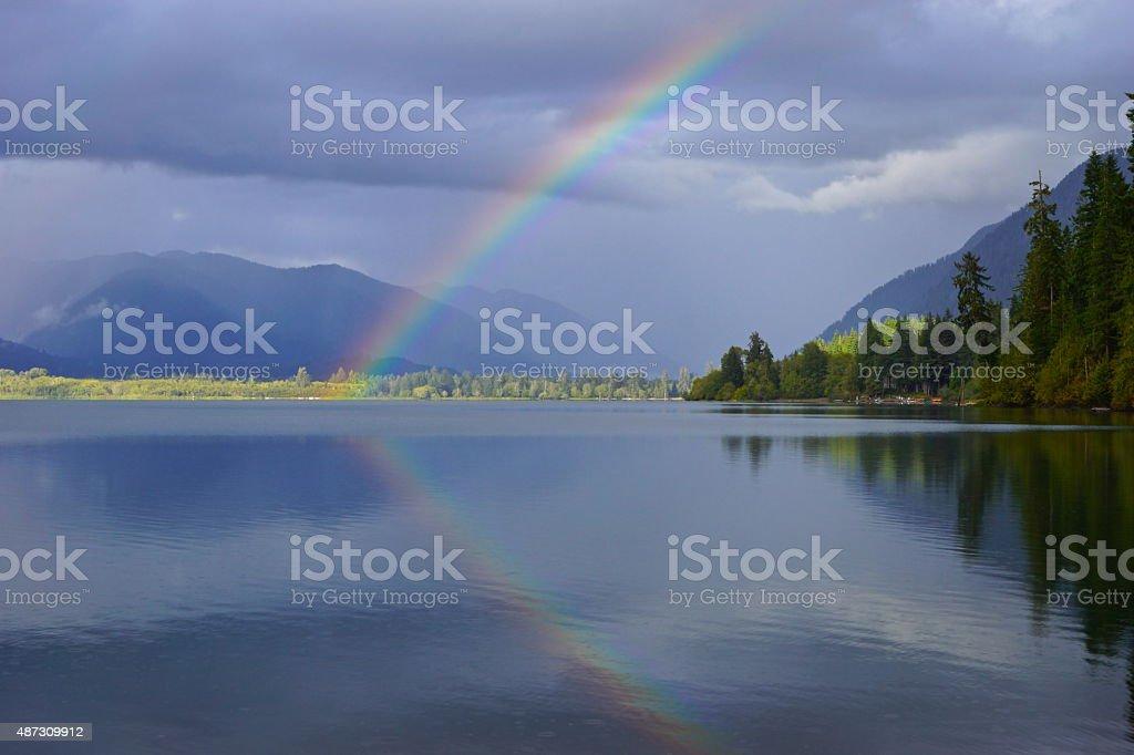 Lake Quinault Rainbow stock photo