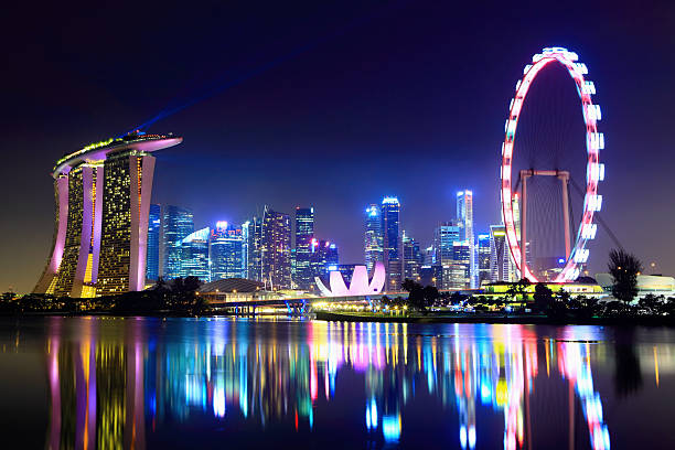 lake reflecting the singapore city skyline at night - singapore stock photos and pictures