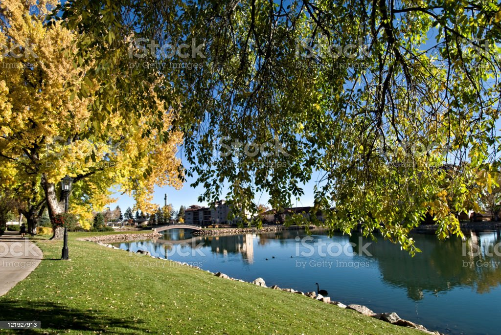 Lake Resort Hotel in Autumn royalty-free stock photo