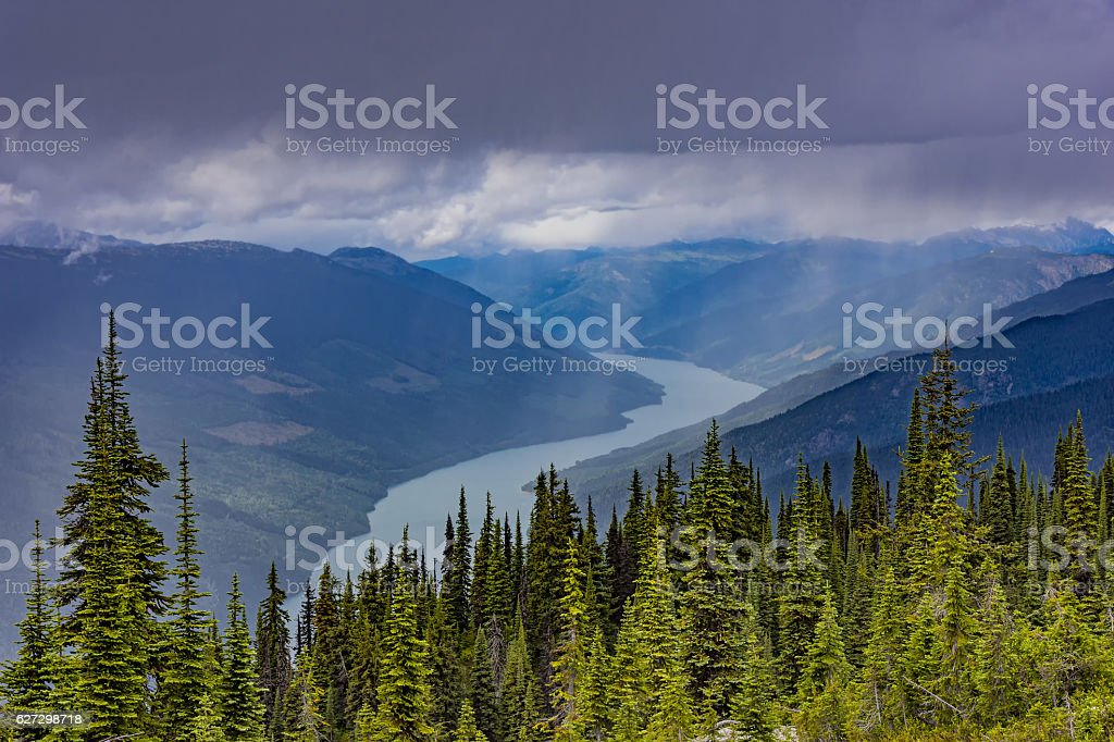 Lake Revelstoke from Mount Revelstoke British Columbia Canada stock photo