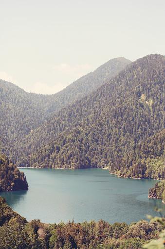 istock Lake Ritsa and the Caucasus mountains in Abkhazia 627935212