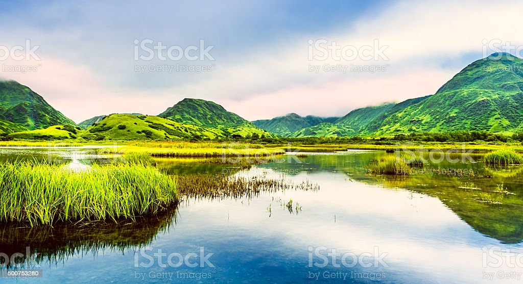 Lake Rose Tead, wilderness area in Kodiak Island, Alaska stock photo
