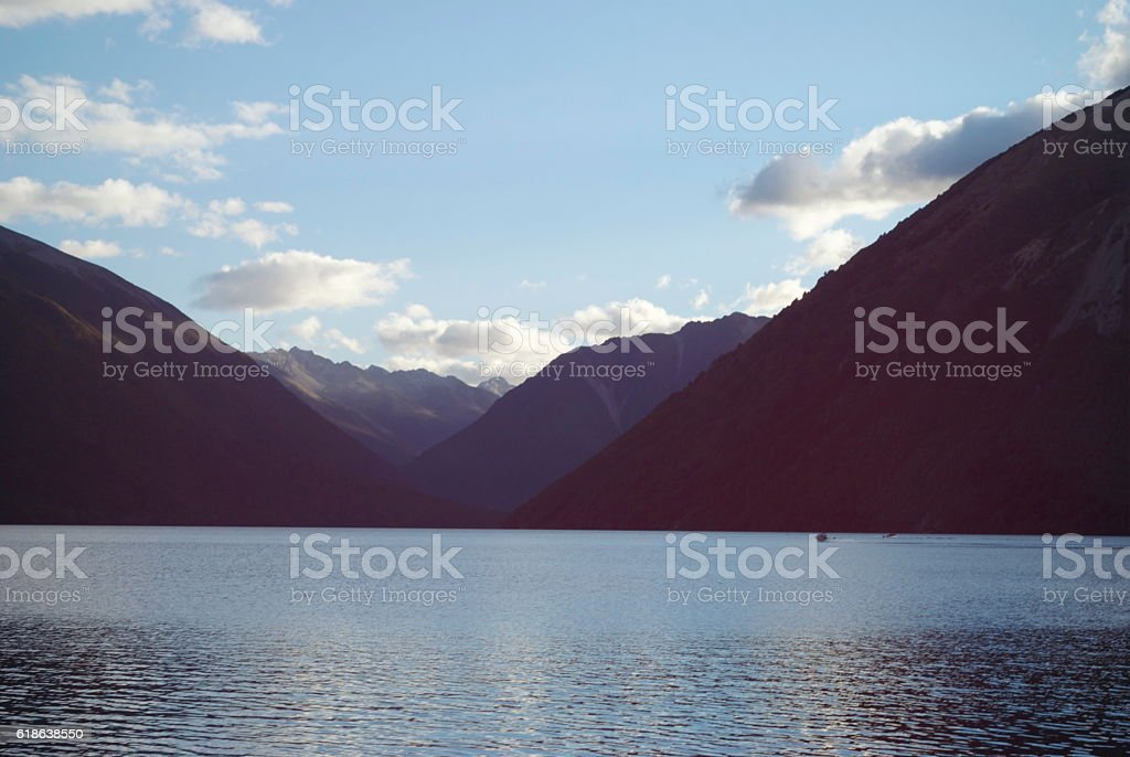 Lake Rotoiti by Dusk, Nelson Lakes National Park, NZ stock photo
