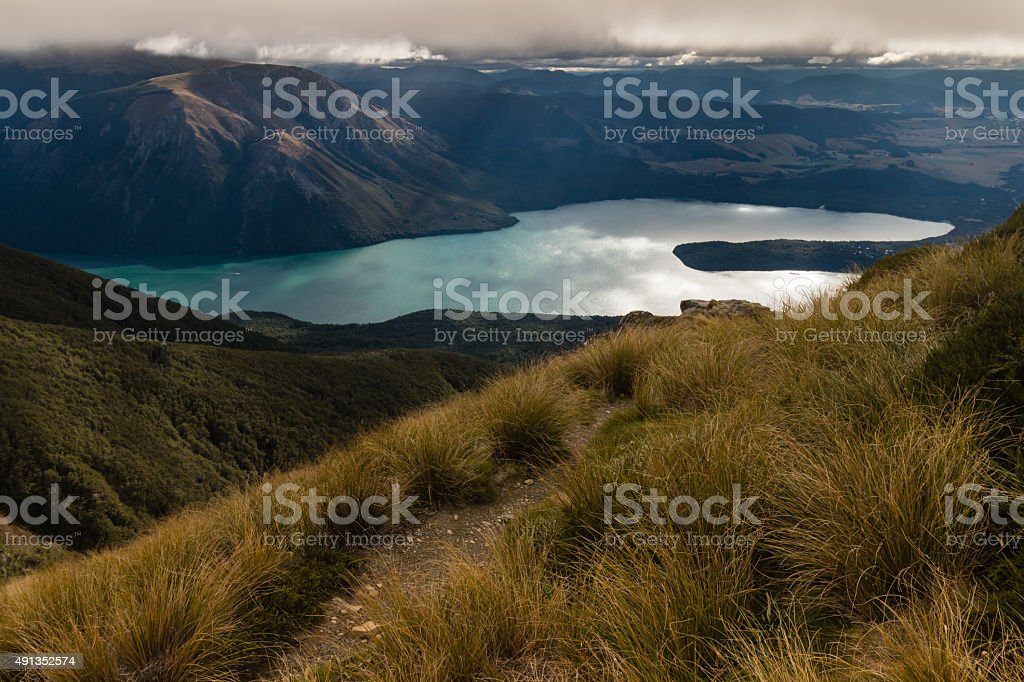 Lake Rotoiti in New Zealand at sunset stock photo