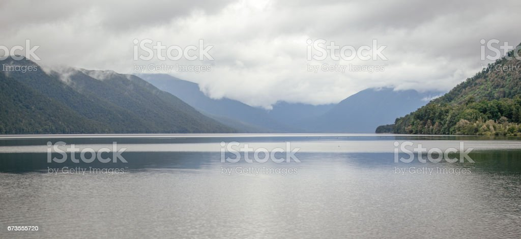 Lake Rotoroa in clouds, New Zealand royalty-free stock photo