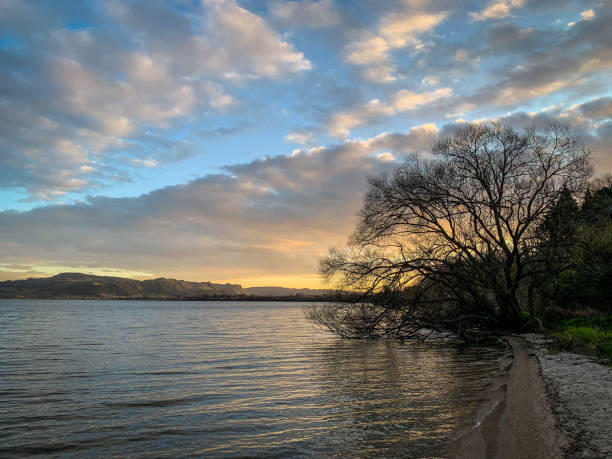 Lake Rotorua & Mount Ngongataha stock photo