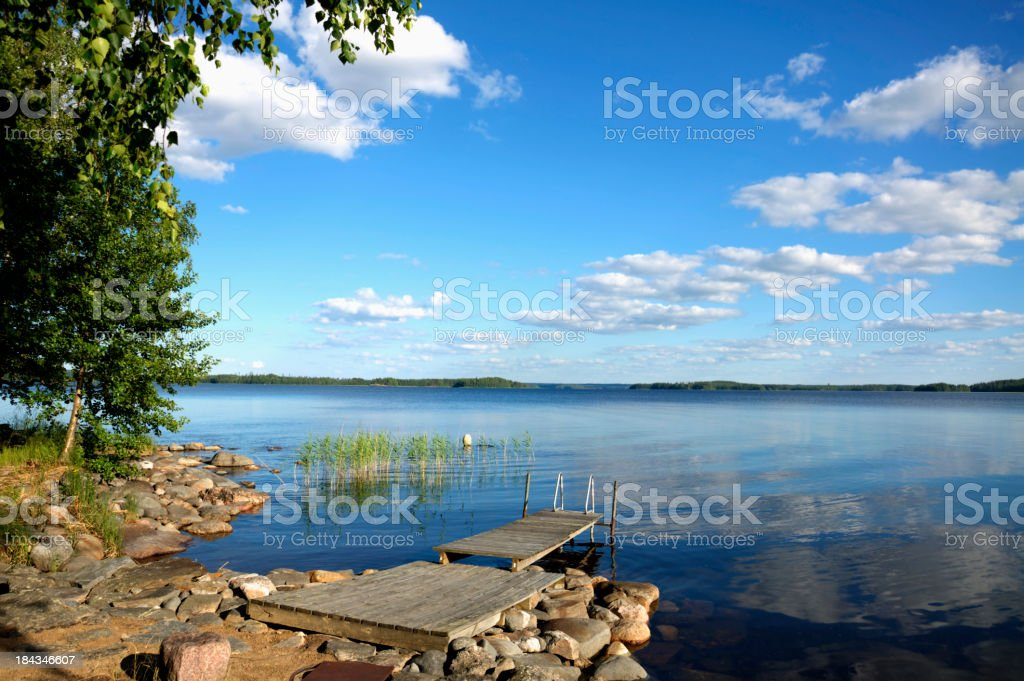 Lake Saimaa in summer. stock photo