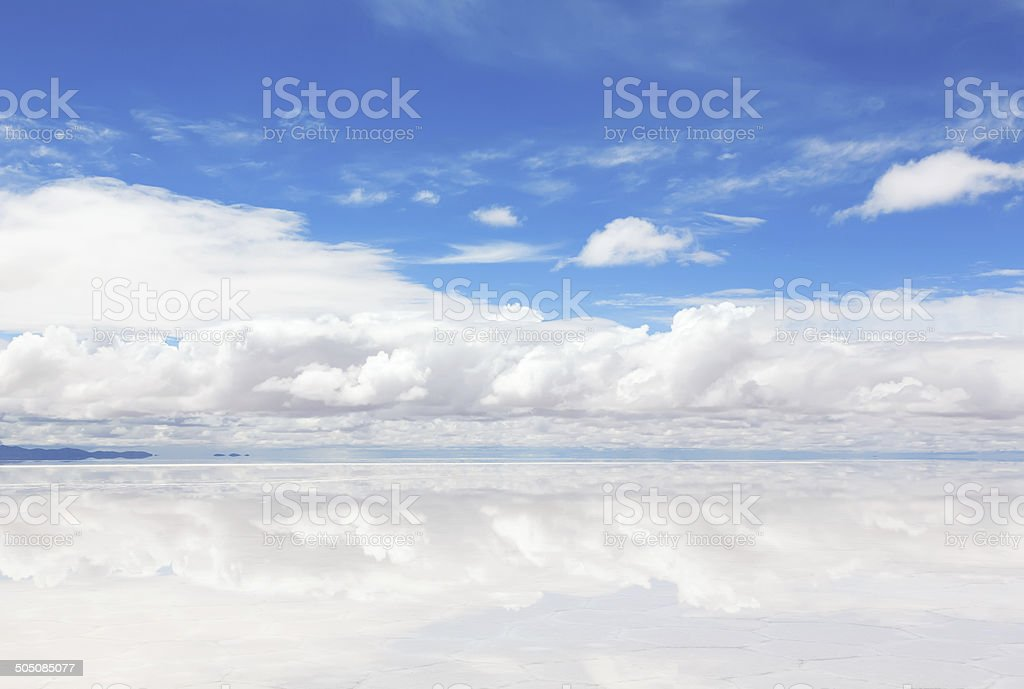 Lake Salar de Uyuni with a thin layer of water stock photo