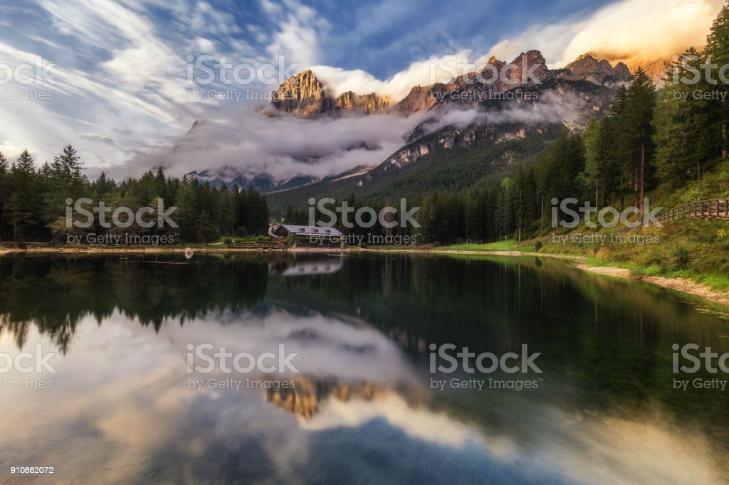 Lake San Vito di Cadore (lake Mosigo) in Boite valley in the domain of Mount Antelao also called King of the Dolomites. Italian Dolomites Alps Scenery, Italy, Europe. stock photo