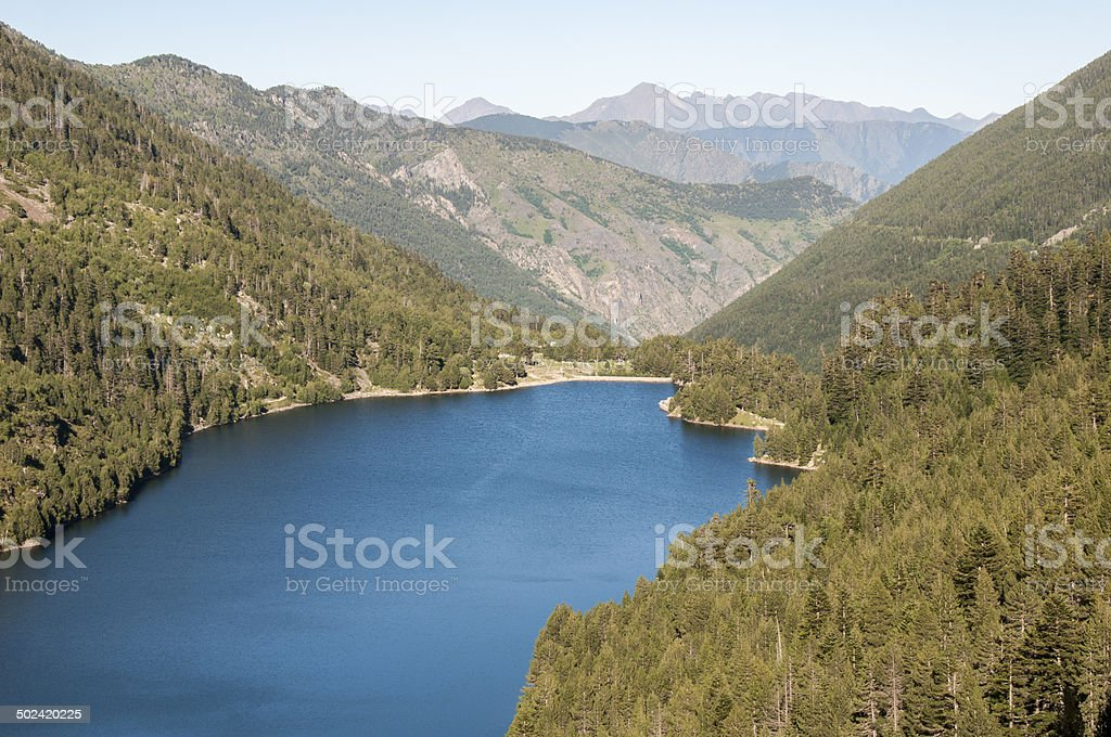 Lake Sant Maurici , national park of Aiguestortes and lake Sant Maurici, Pyrenees (Spain) stock photo
