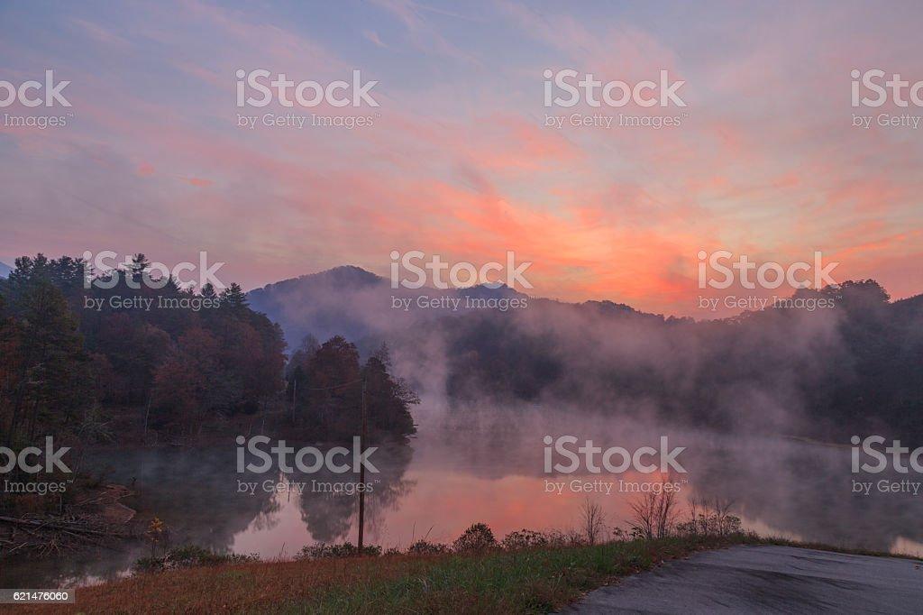 Lake Santeetlah sunrise. stock photo