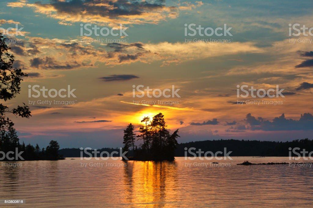 Lake Scene at Ely, Boundary Water Canoe Area, Minnesota, USA at Sunrise stock photo