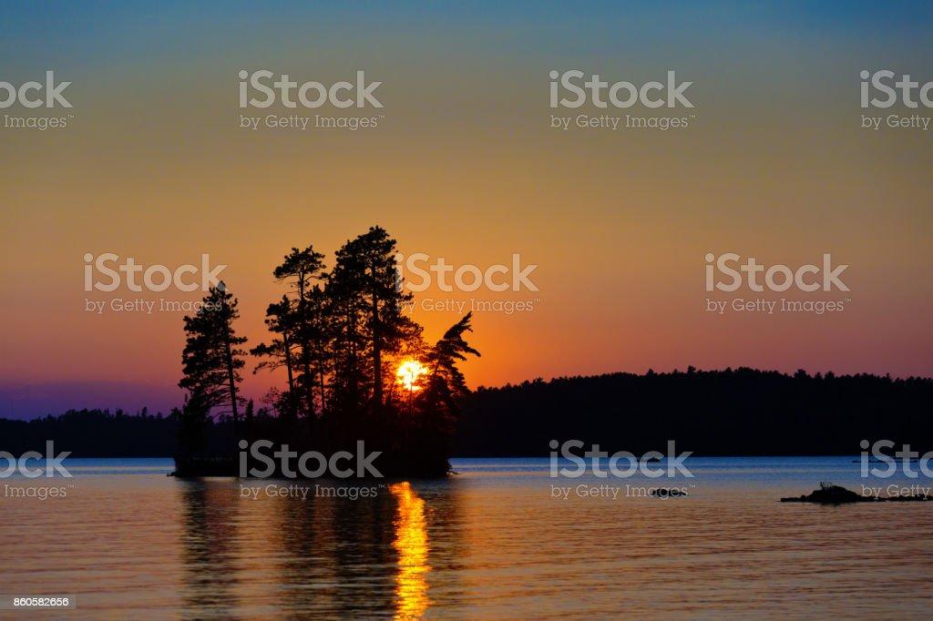 Lake Scene at Ely, Boundary Water Canoe Area, Minnesota, USA at Sunset stock photo