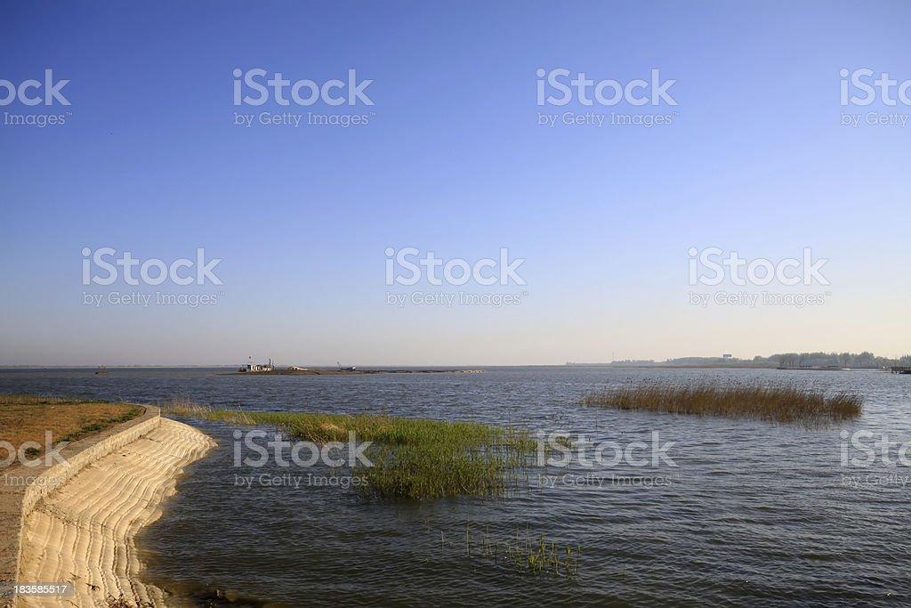 lake scenery under the blue sky stock photo