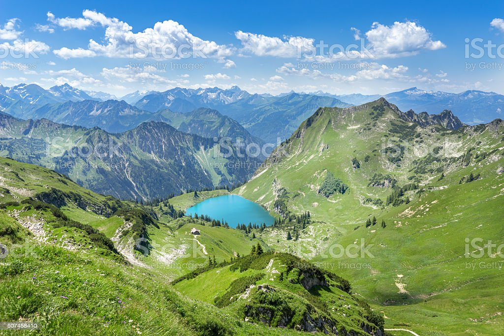 Lake Seealpsee in the Allgau Alps stock photo